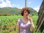 Maria McCall, smoking a Cuban cigar in the Vinales Region of Cuba last May.