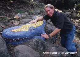 Dan Chrynko with alligator mosaic